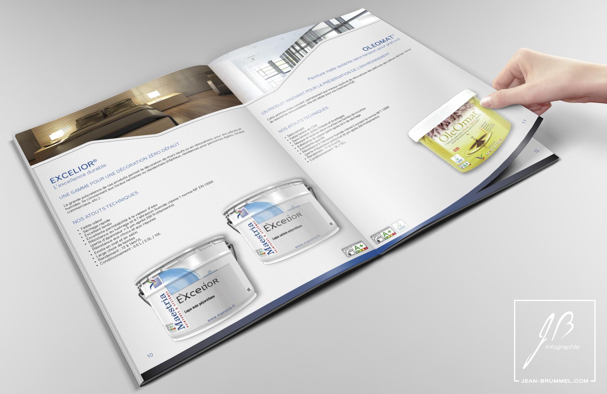 Conception d'un catalogue au sein de l'agence Géo Reflet pour Meastria, fabricant de peintures.